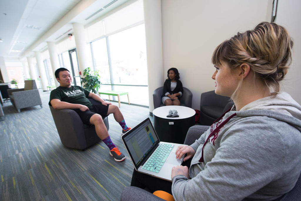 Mason residence halls feature spacious lounge areas where campers or conference attendees can gather to relax or discuss work.